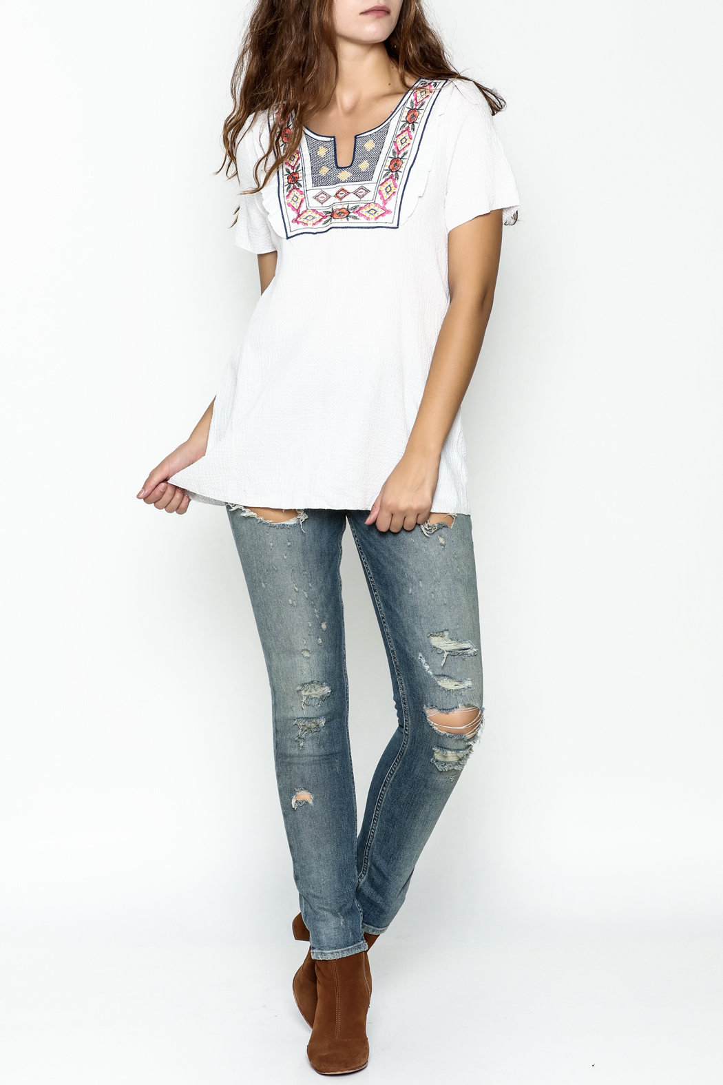 Hailey & Co. Boho Embroidered Top - Side Cropped Image