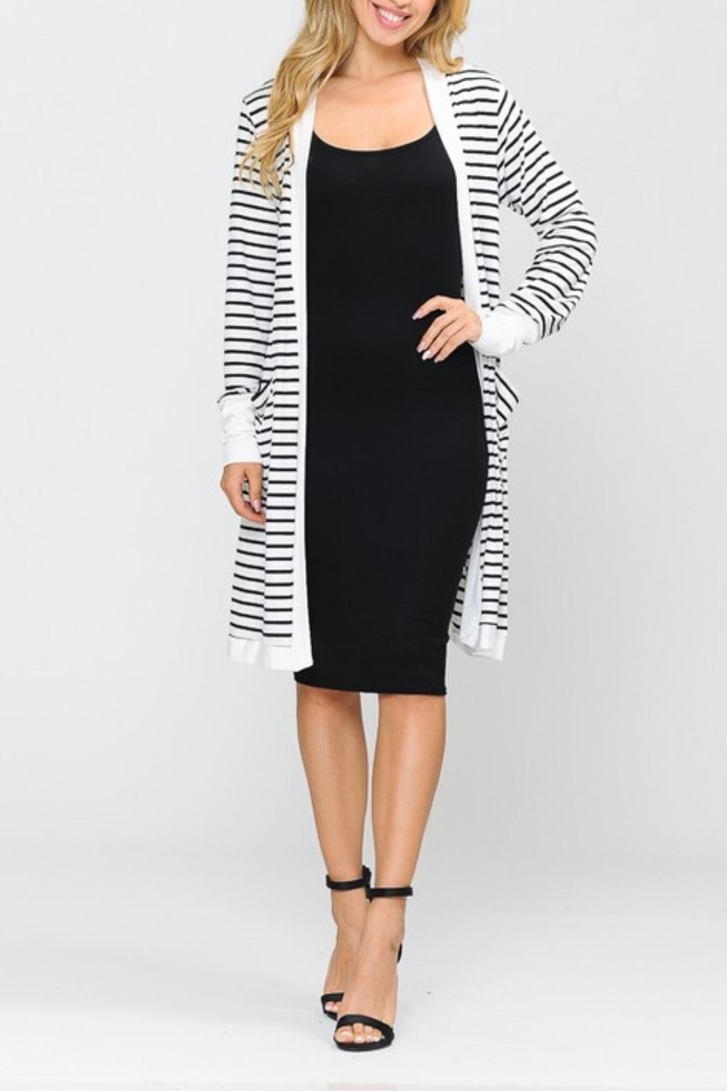 Hailey Striped Open Cardigan - Main Image