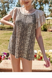 Hailey & Co. Ruffled Sleeve Snake Skin Top - Front cropped