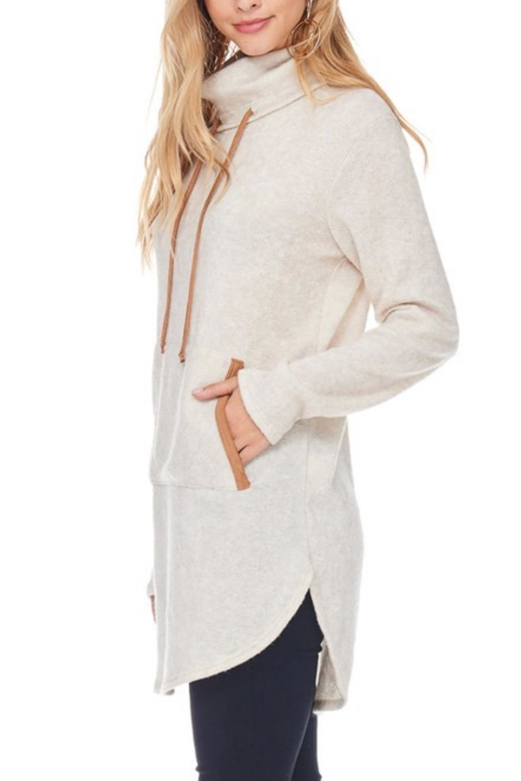 Hailey & Co Highneck Sweater Tunic - Front Full Image