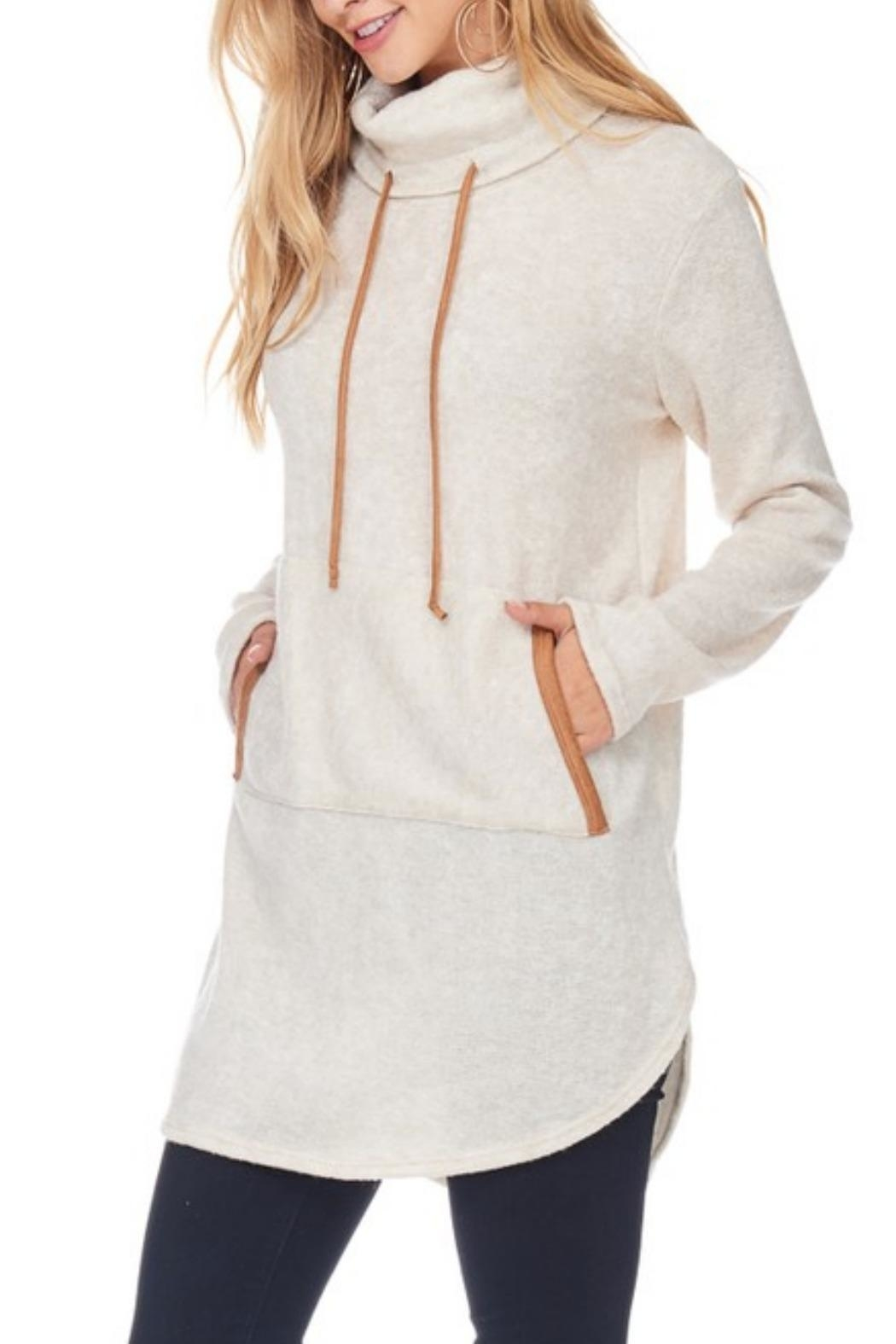 Hailey & Co Highneck Sweater Tunic - Front Cropped Image