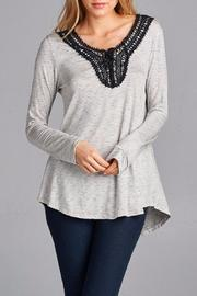 Hailey & Co Lace Up Crochet Blouse - Product Mini Image