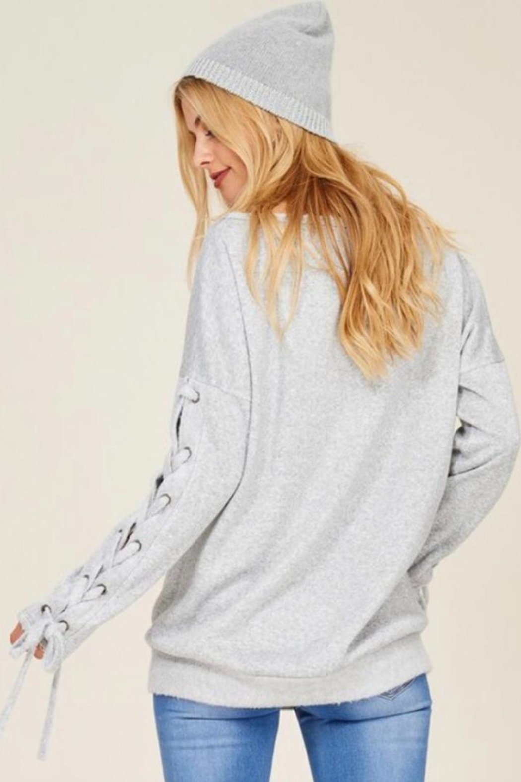 Hailey & Co Sweatshirt With Ties. - Side Cropped Image