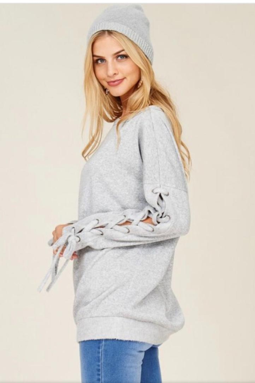 Hailey & Co Sweatshirt With Ties. - Front Full Image