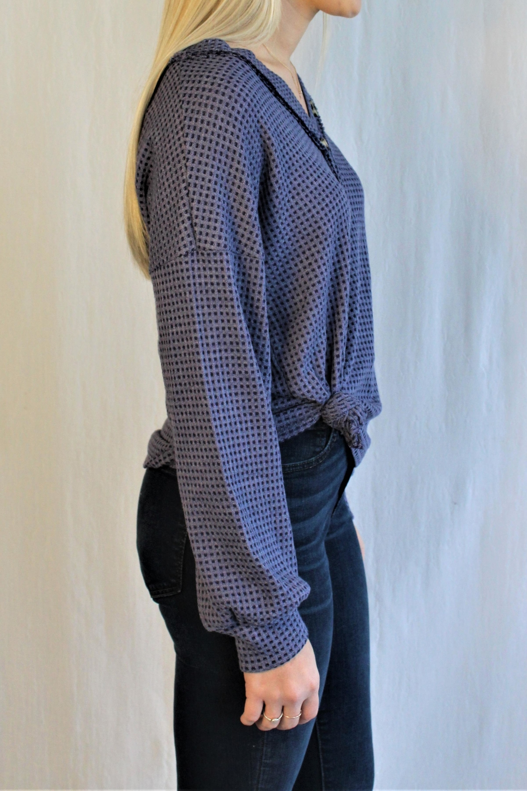 Hailey & Co Waffle Button Top - Front Full Image