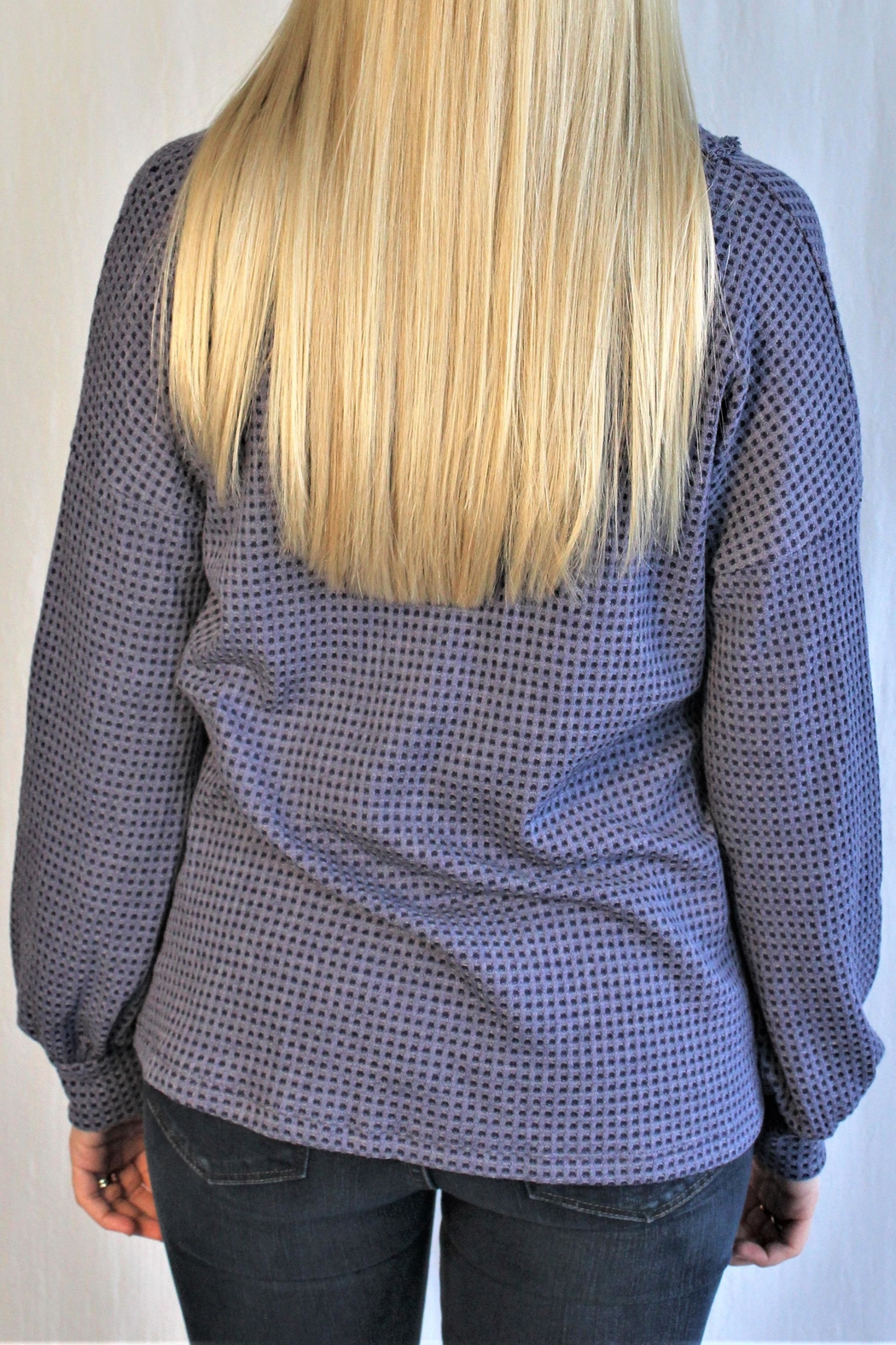 Hailey & Co Waffle Button Top - Side Cropped Image