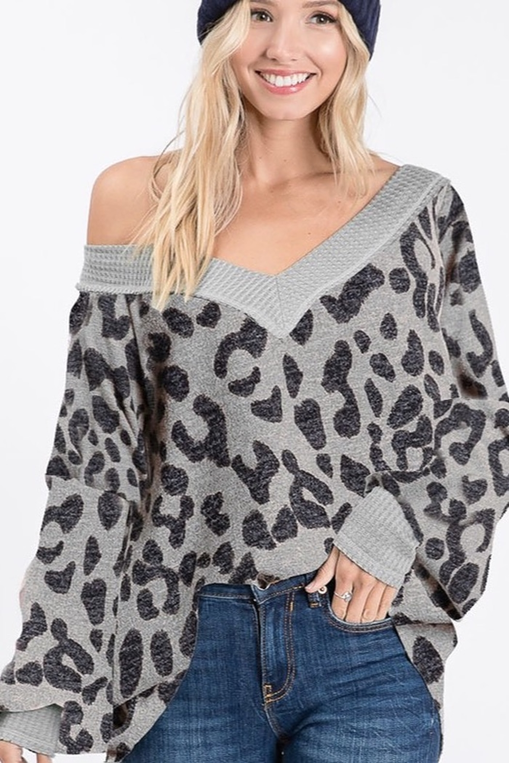 Bibi Hairy Leopard V Neck Sweater - Front Cropped Image