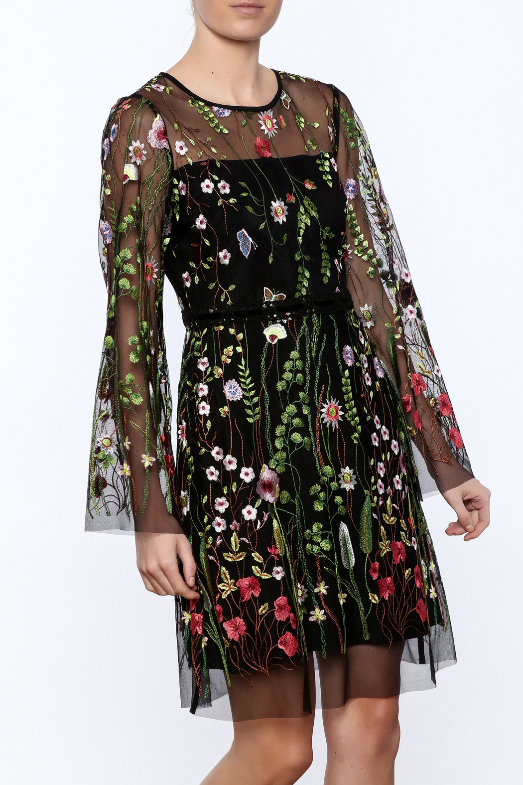 Hale bob sheer sleeved embroidered floral dress from idaho