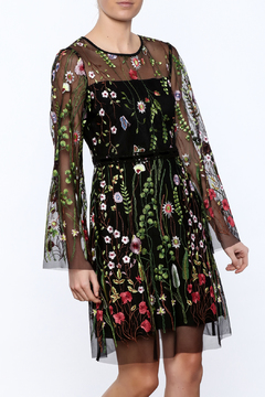 Shoptiques Product: Sheer Sleeved Embroidered Floral Dress