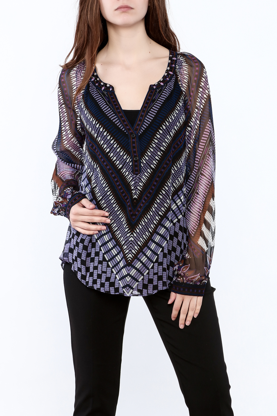 Hale Bob Sheer Long Sleeve Blouse - Front Cropped Image