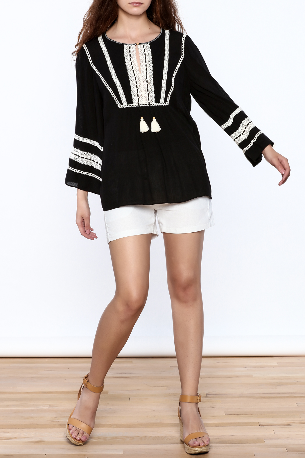 Hale Bob Black Embroidered Tunic Top - Front Full Image