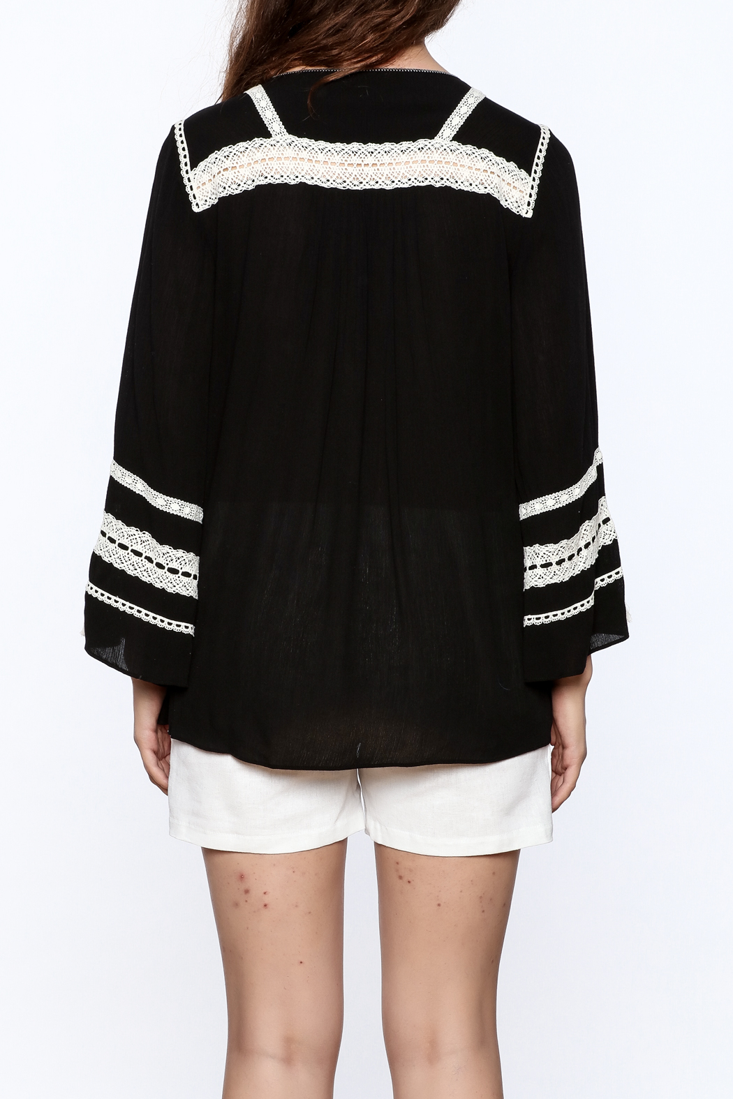 Hale Bob Black Embroidered Tunic Top - Back Cropped Image