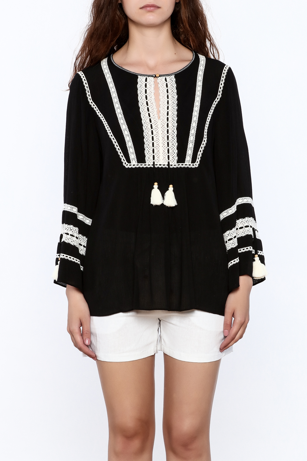 Hale Bob Black Embroidered Tunic Top - Side Cropped Image
