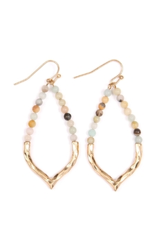 Shoptiques Product: Half-Beaded Marquise Earrings