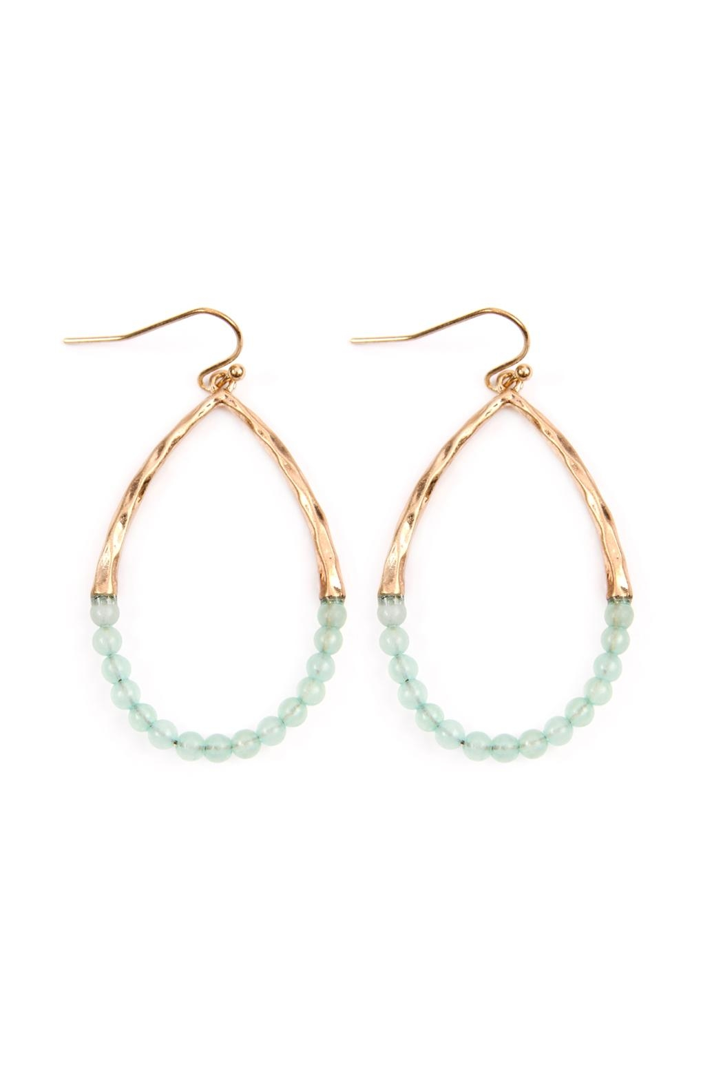 Riah Fashion Half-Beaded Pear-Shape Earrings - Front Cropped Image