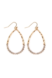 Riah Fashion Half-Beaded Pear-Shape Earrings - Front cropped