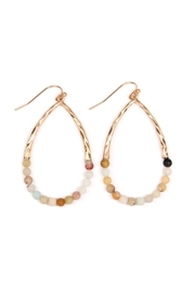 Riah Fashion Half-Beaded Pear-Shape Earrings - Product Mini Image