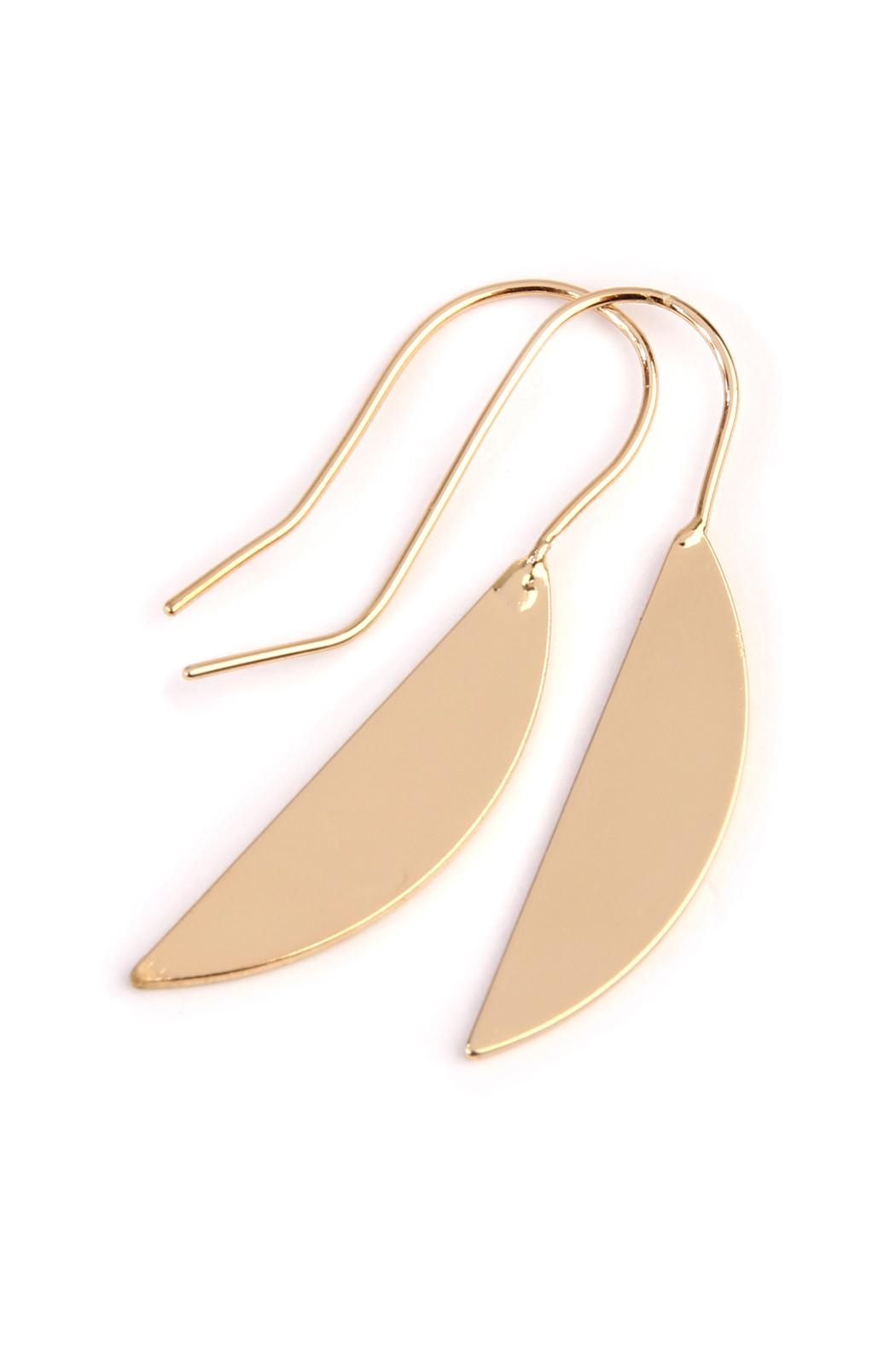 Riah Fashion Half-Leaf Threader Earrings - Front Full Image