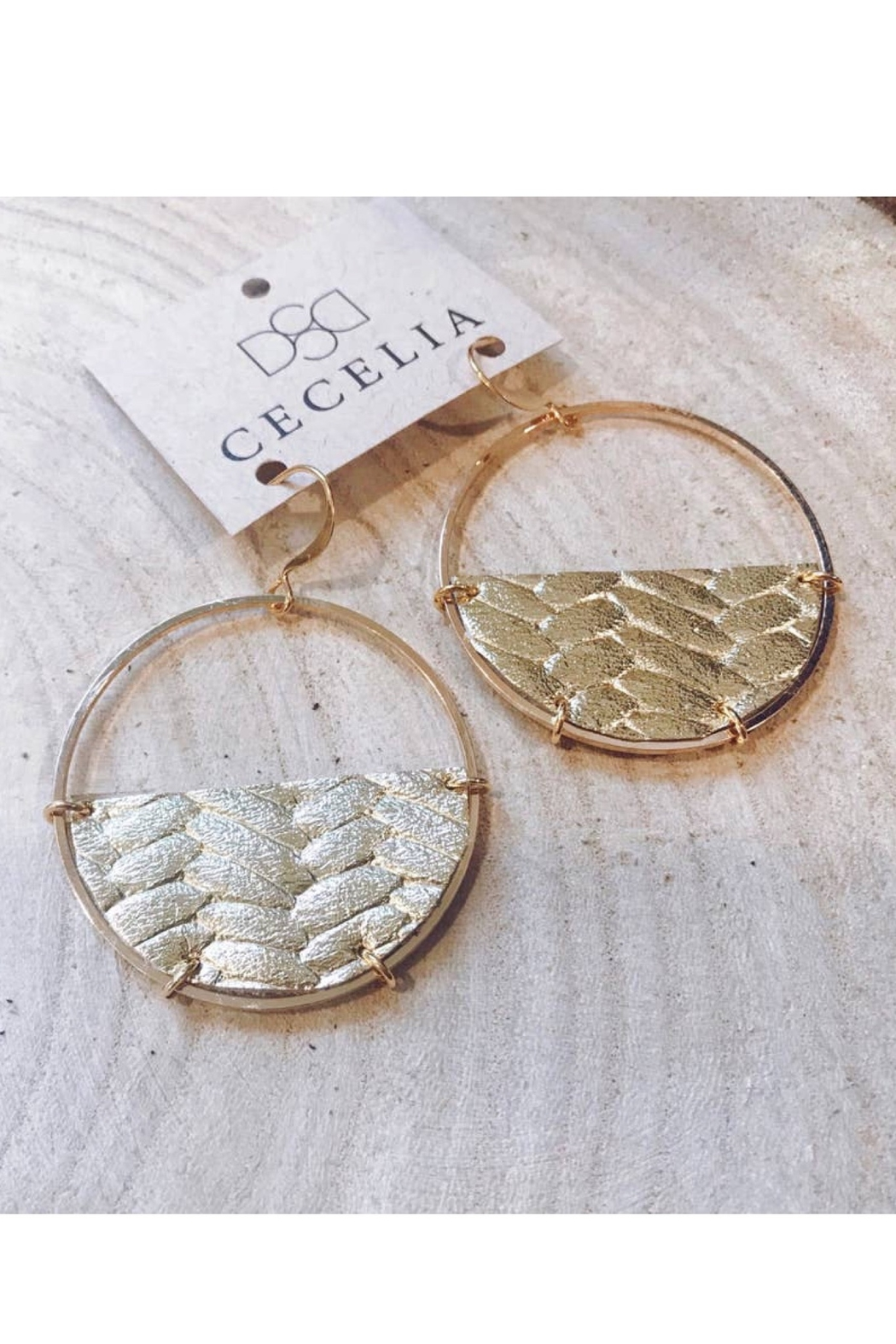 Cecelia Designs Jewelry Half Moon Leather Earrings - Front Cropped Image