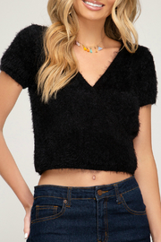 She + Sky HALF SLEEVE SURPLICE FUZZY KNIT SWEATER TOP - Product Mini Image
