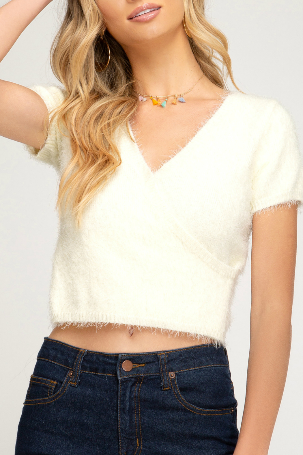 She + Sky HALF SLEEVE SURPLICE FUZZY KNIT SWEATER TOP - Front Cropped Image