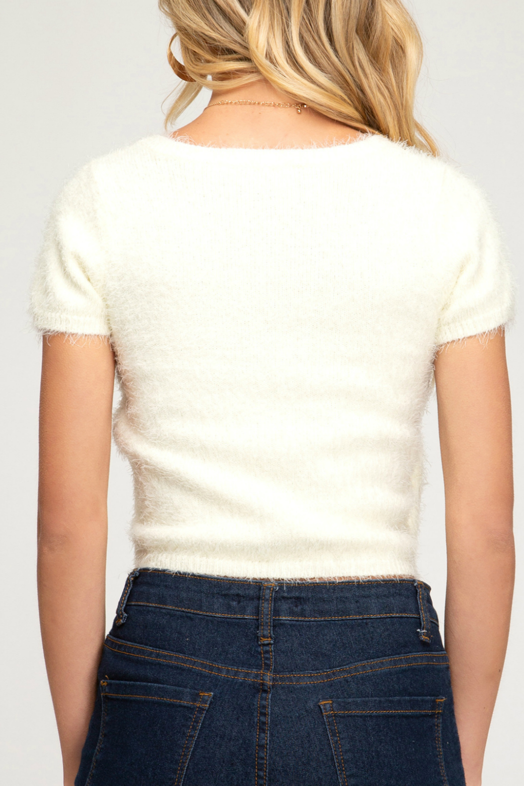 She + Sky HALF SLEEVE SURPLICE FUZZY KNIT SWEATER TOP - Front Full Image