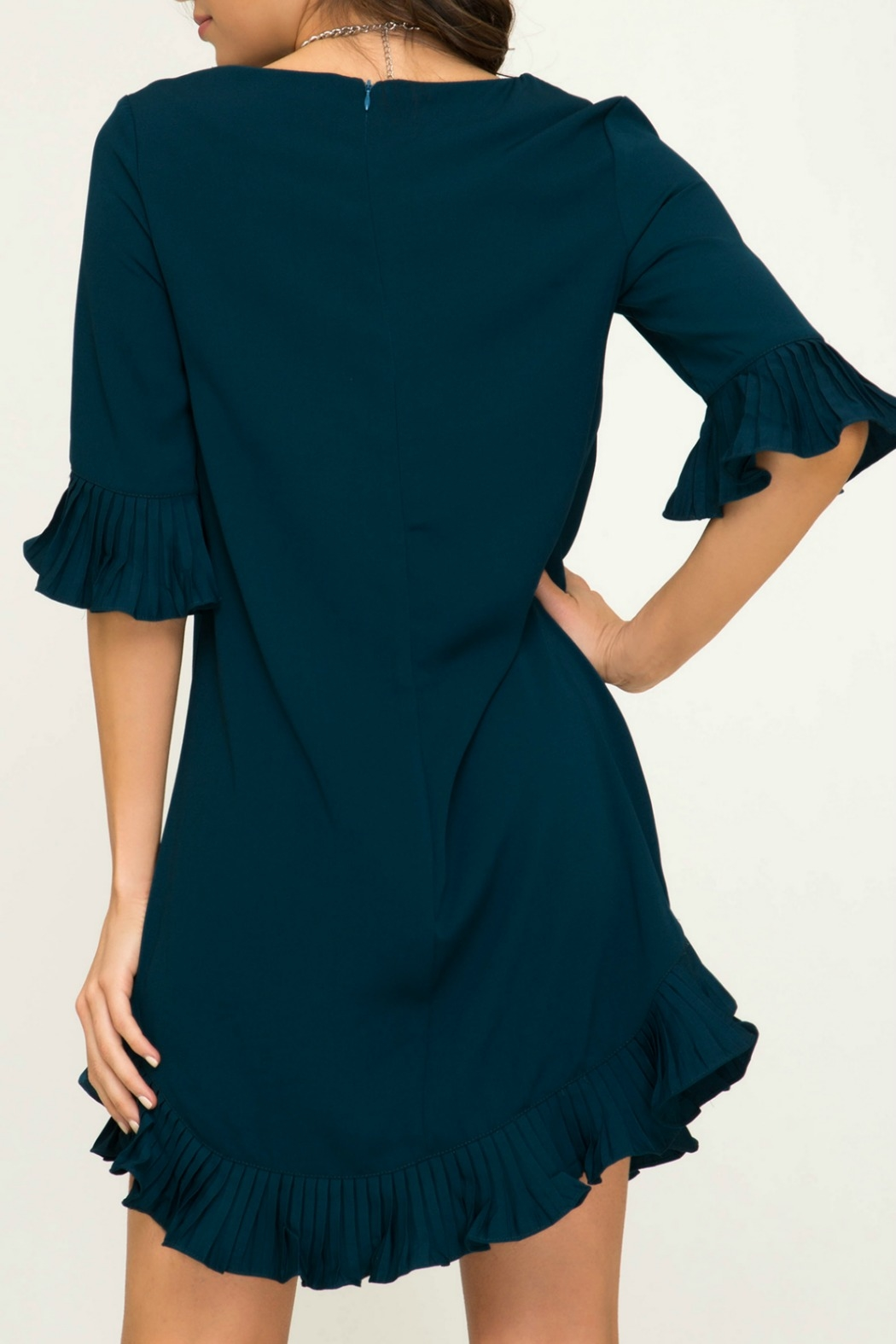 She & Sky  Half Sleeve Woven Dress with Pleated Ruffle Details - Front Full Image