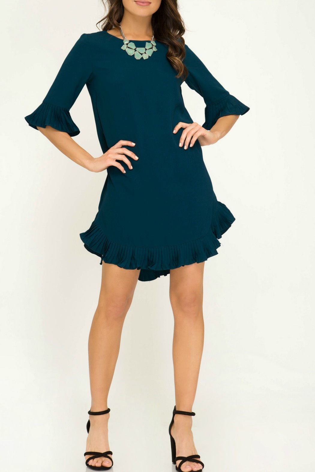 She & Sky  Half Sleeve Woven Dress with Pleated Ruffle Details - Back Cropped Image