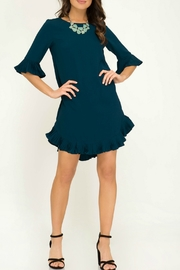 She & Sky  Half Sleeve Woven Dress with Pleated Ruffle Details - Back cropped