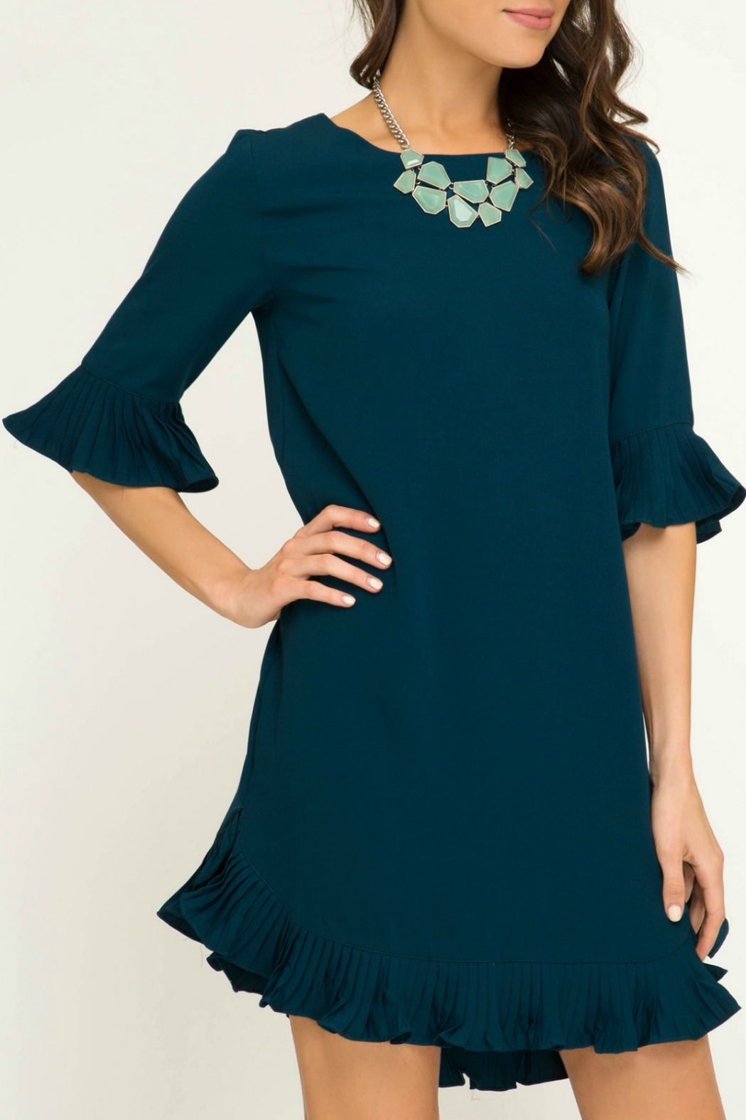 She & Sky  Half Sleeve Woven Dress with Pleated Ruffle Details - Side Cropped Image
