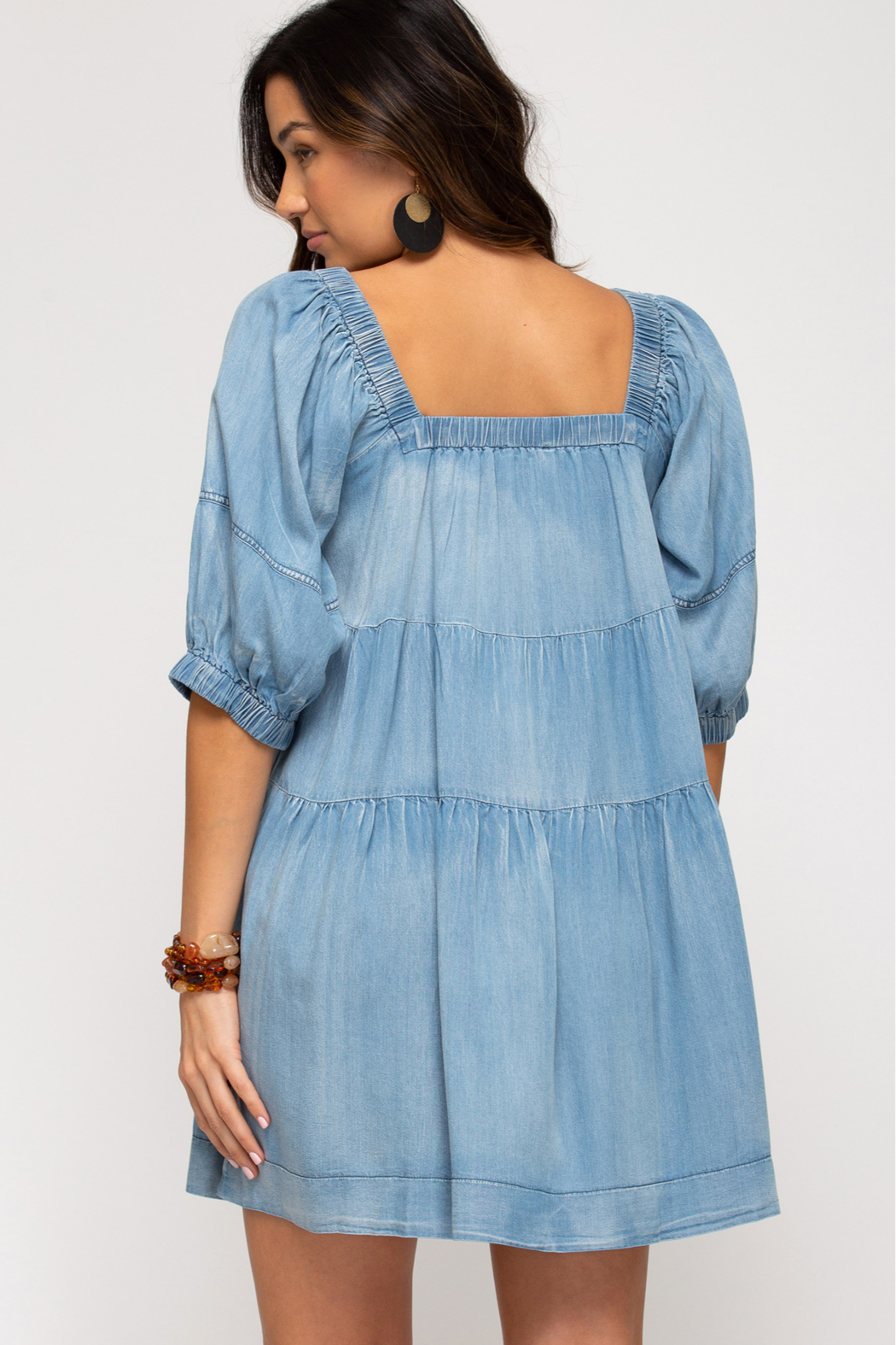 She and Sky HALF SLV WASHED DENIM DRESS W/ PKTS - Side Cropped Image