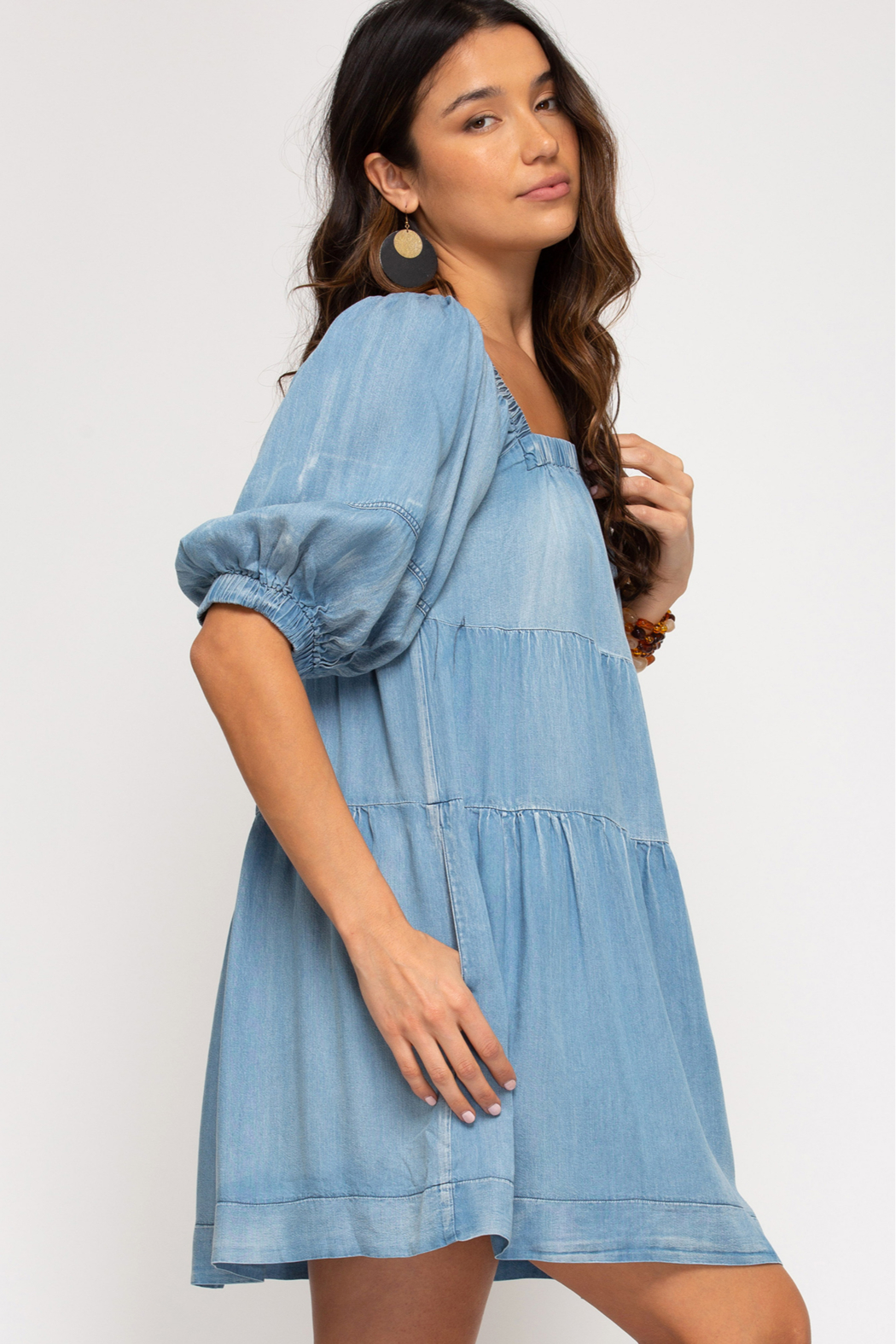 She and Sky HALF SLV WASHED DENIM DRESS W/ PKTS - Front Full Image