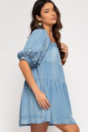 She and Sky HALF SLV WASHED DENIM DRESS W/ PKTS - Front full body