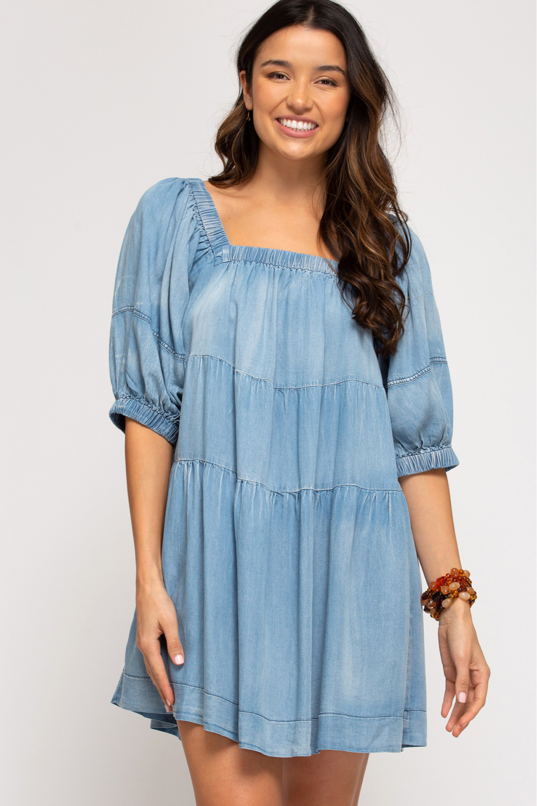 She and Sky HALF SLV WASHED DENIM DRESS W/ PKTS - Front Cropped Image