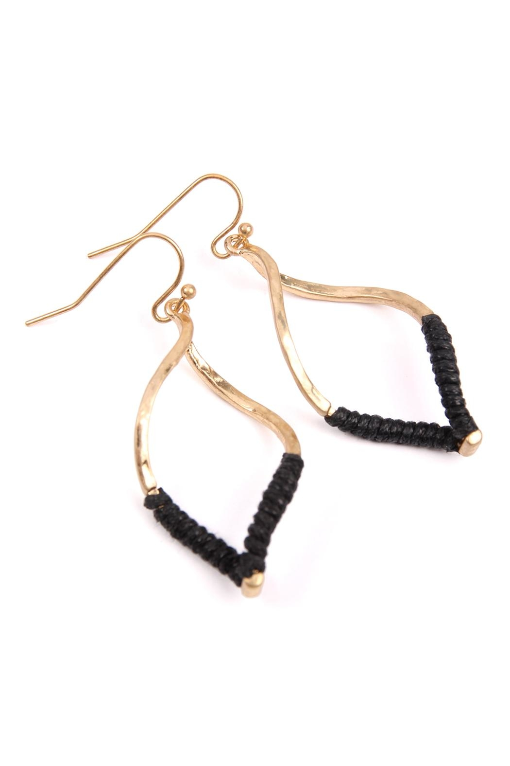 Riah Fashion Half-Thread-Wrap-Marquise Hook Earrings - Front Full Image