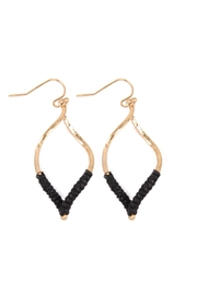 Riah Fashion Half-Thread-Wrap-Marquise Hook Earrings - Product Mini Image
