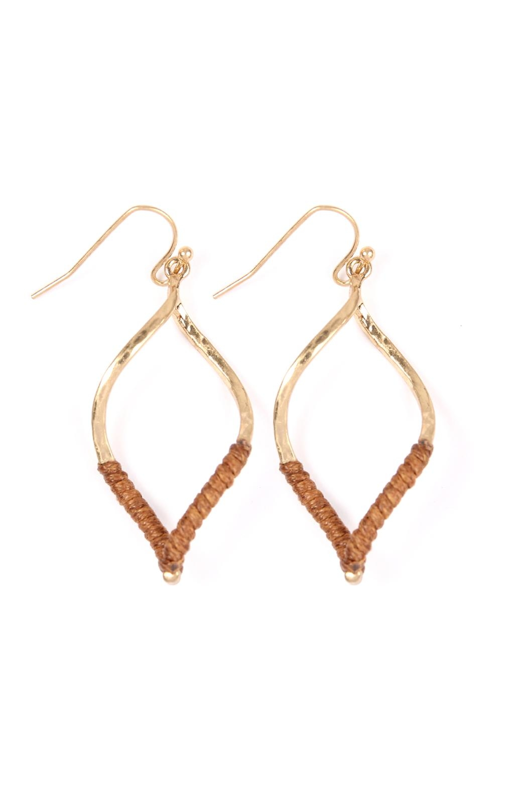 Riah Fashion Half-Thread-Wrap-Marquise Hook Earrings - Front Cropped Image