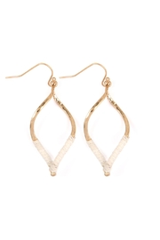 Riah Fashion Half-Thread-Wrap-Marquise Hook Earrings - Front cropped