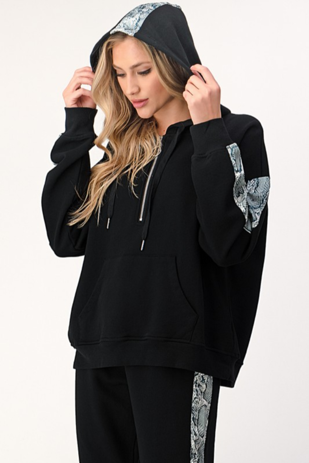Dance and Marvel Half Zip Hoodie with Snake Skin Stripe - Front Full Image