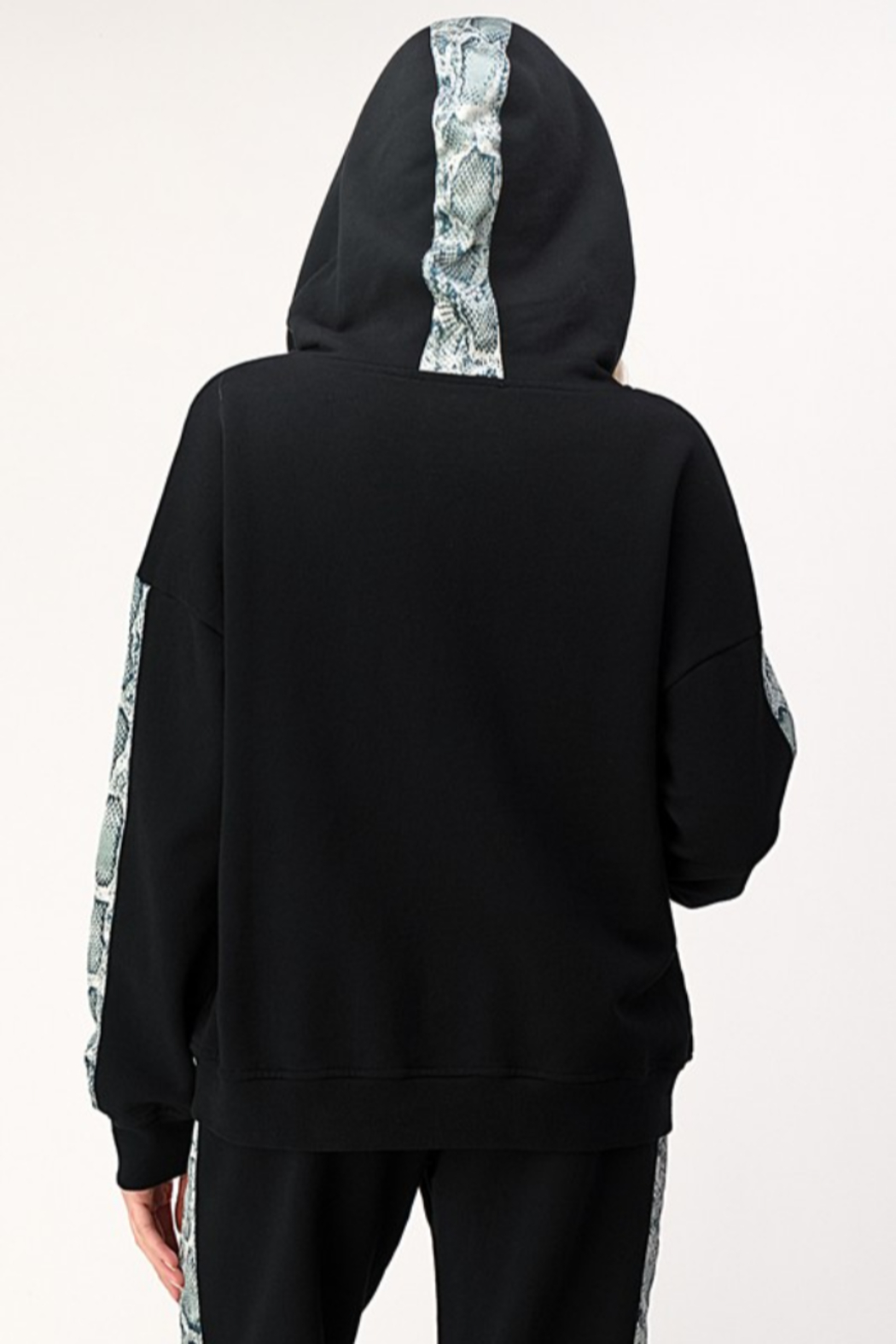 Dance and Marvel Half Zip Hoodie with Snake Skin Stripe - Side Cropped Image