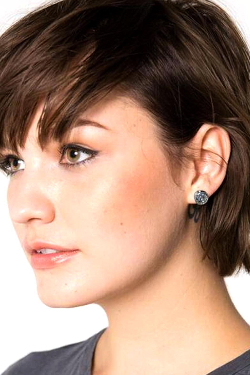 Half United Bullet Stud Earrings - Front Full Image
