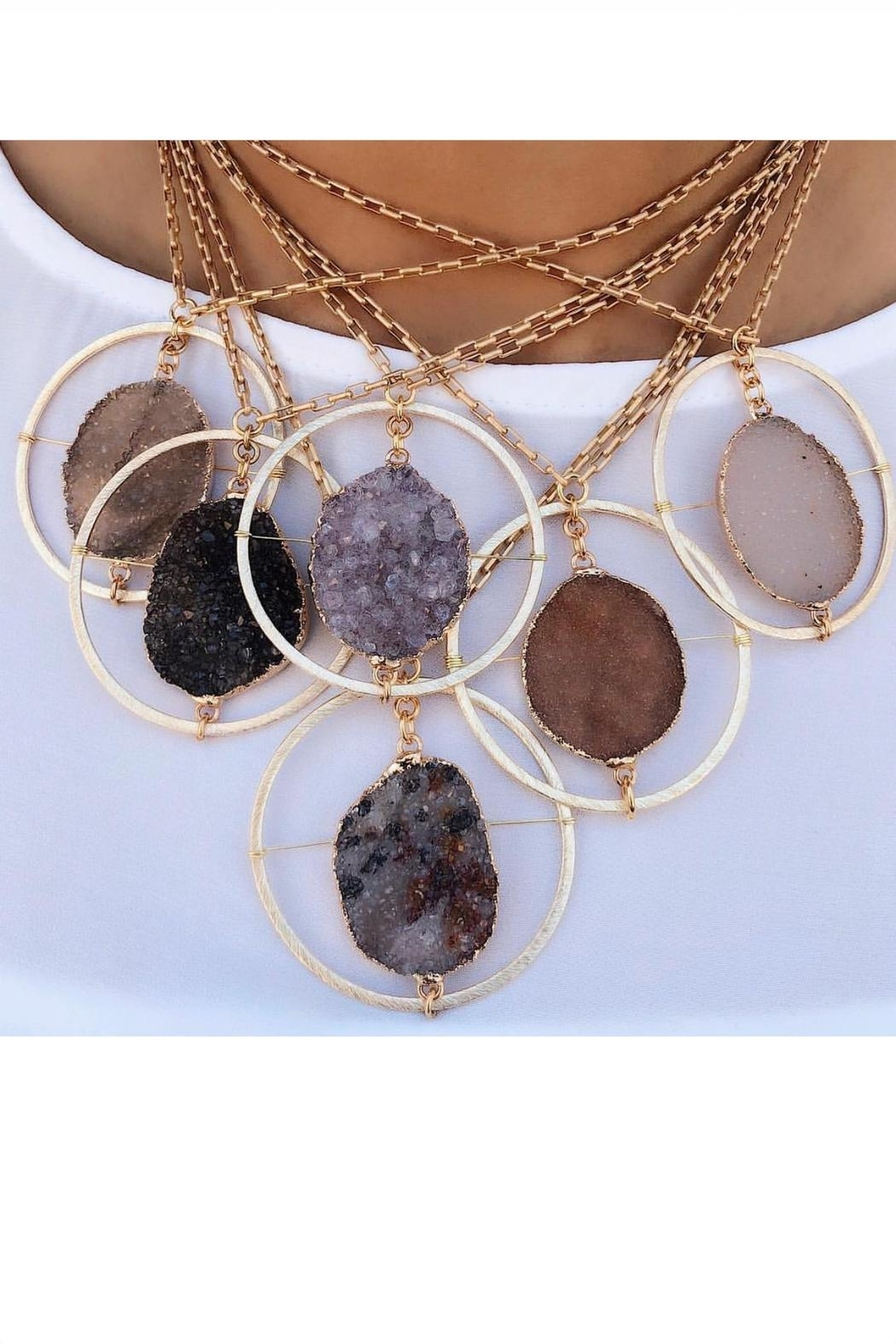 Fabulina Designs Halo Druzy Necklace - Back Cropped Image