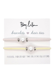 The Birds Nest HALO SILVER DISK PEARL HAIR TIES/BRACELET - Product Mini Image