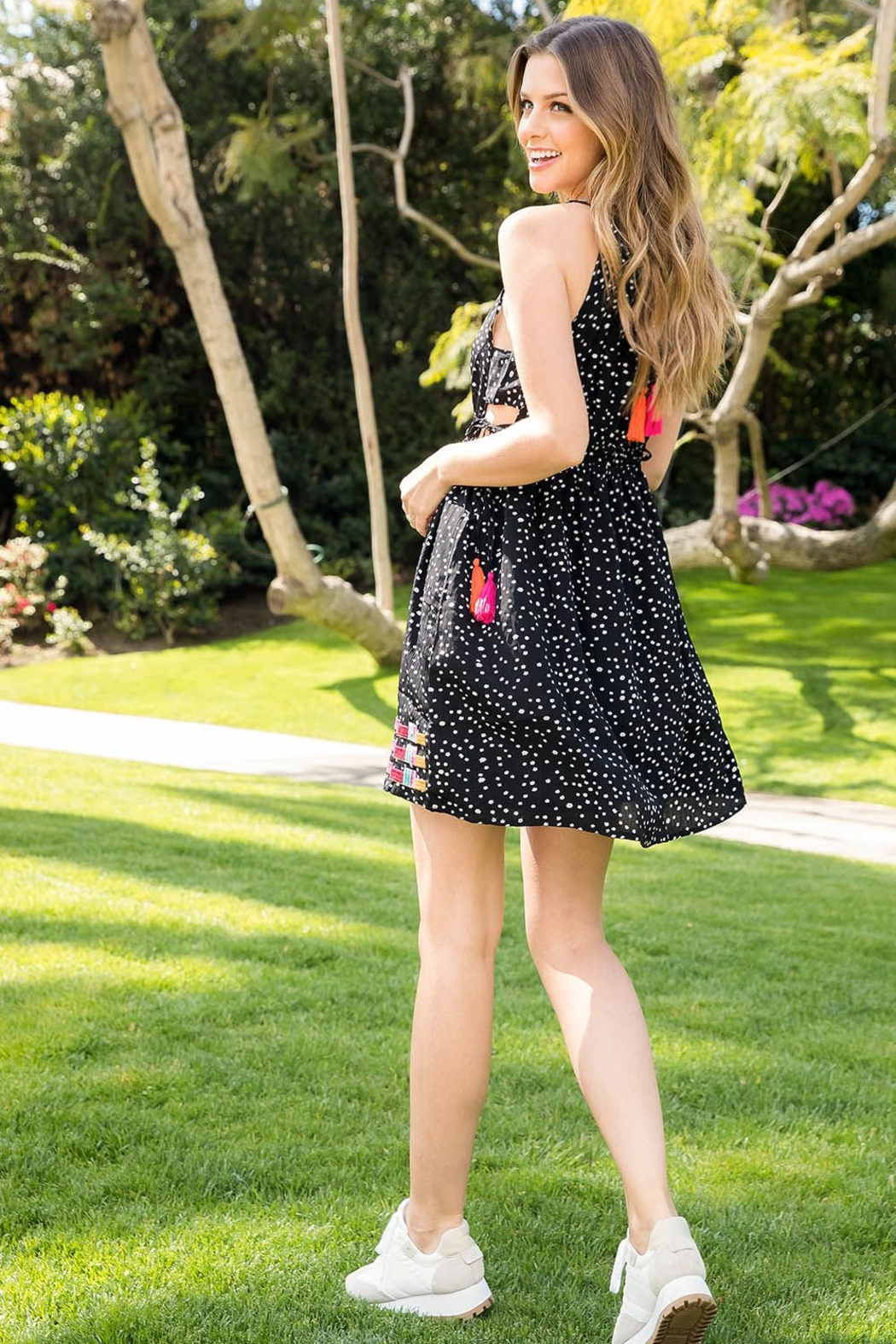 THML Clothing HALTER EMBROIDERED DRESS - Front Full Image