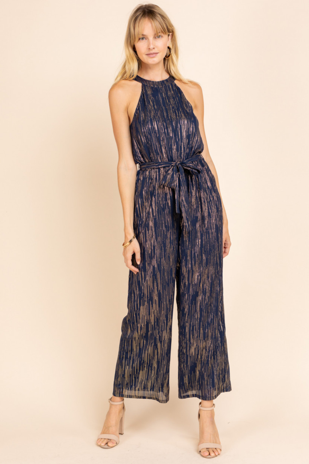 Gilli  Halter Jumpsuit with Lurex detail - Front Cropped Image