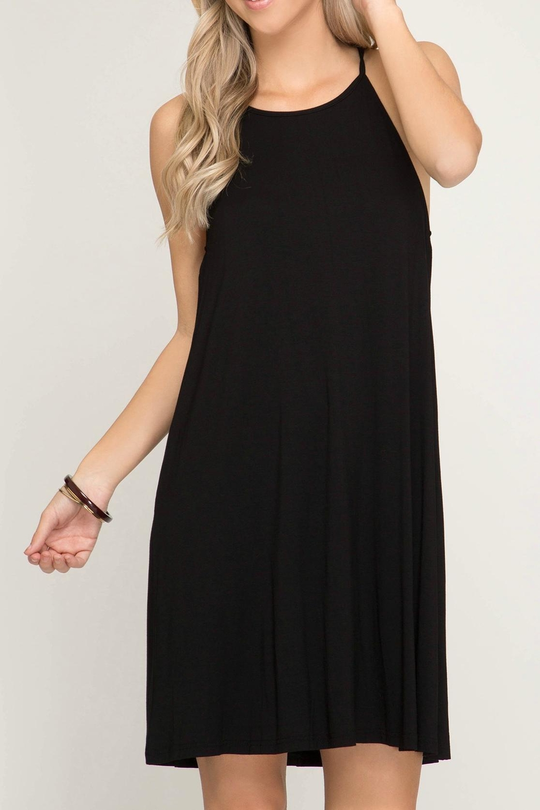 She + Sky Halter Knit Dress - Front Cropped Image