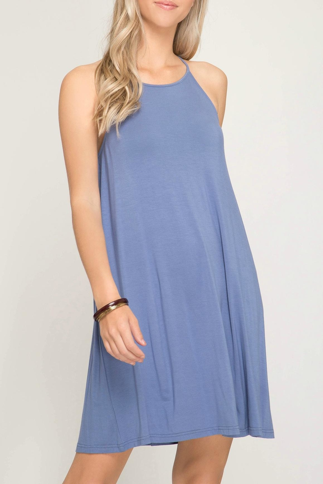 She + Sky Halter Knit Dress - Main Image
