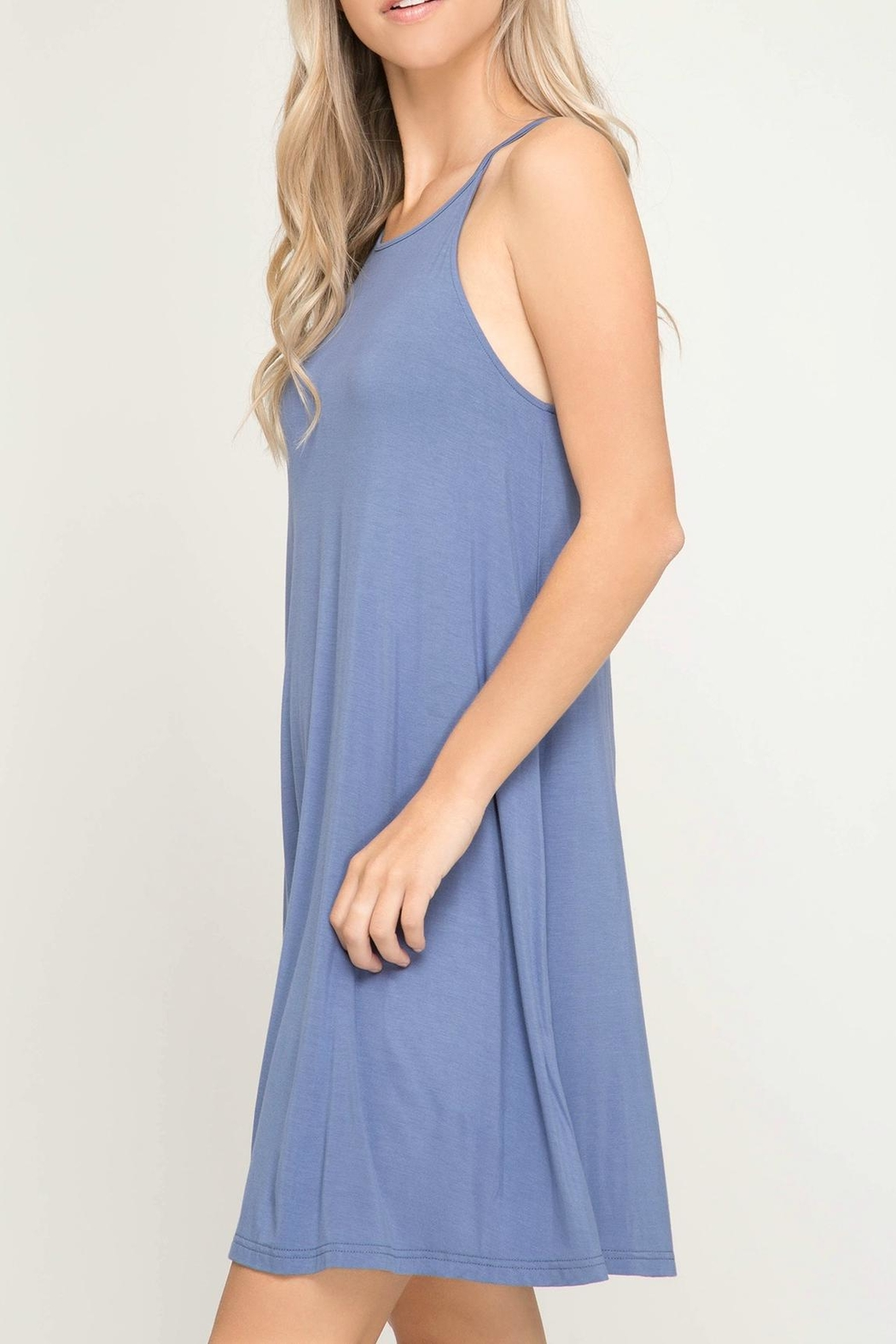She + Sky Halter Knit Dress - Front Full Image