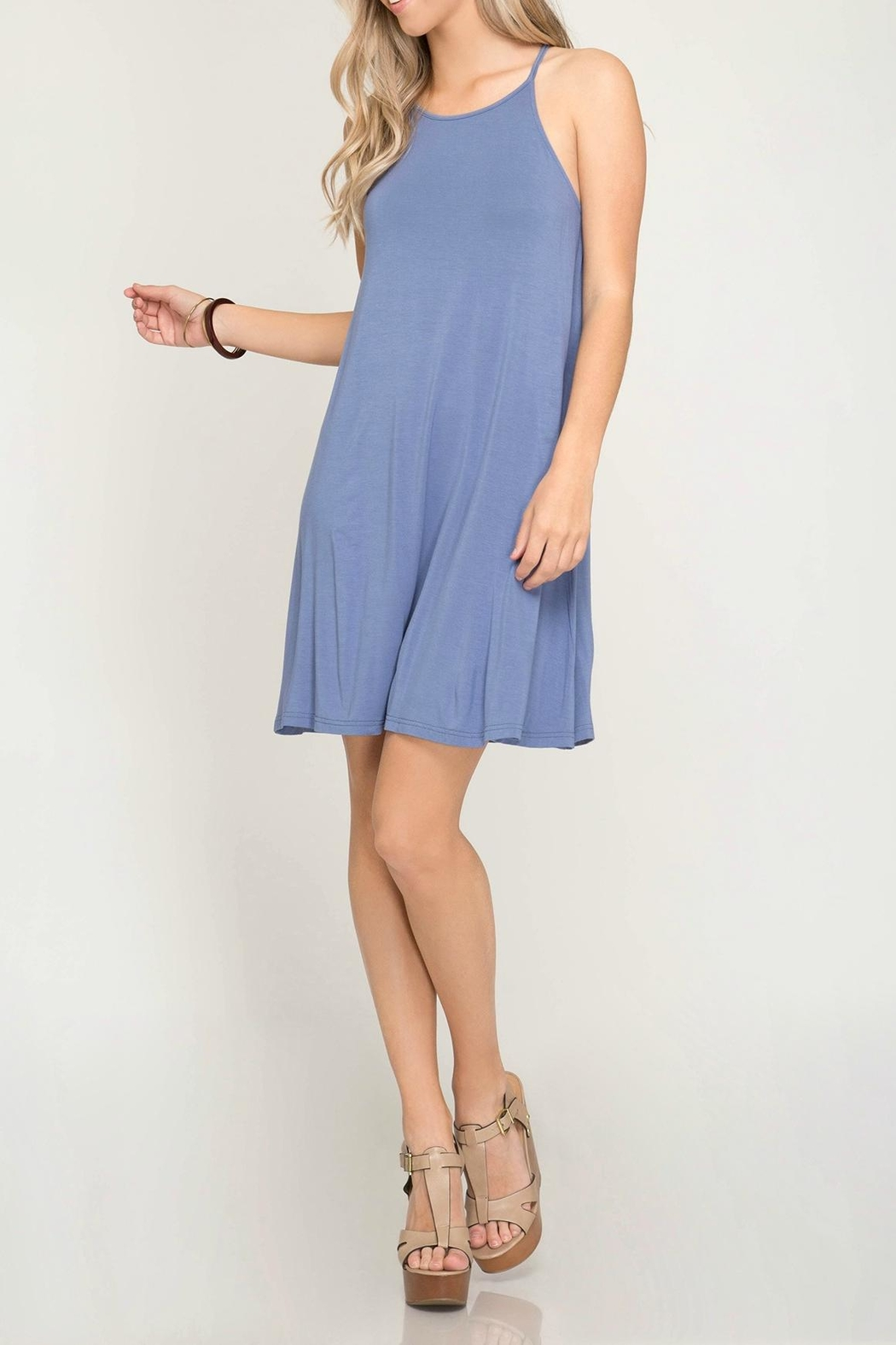 She + Sky Halter Knit Dress - Back Cropped Image