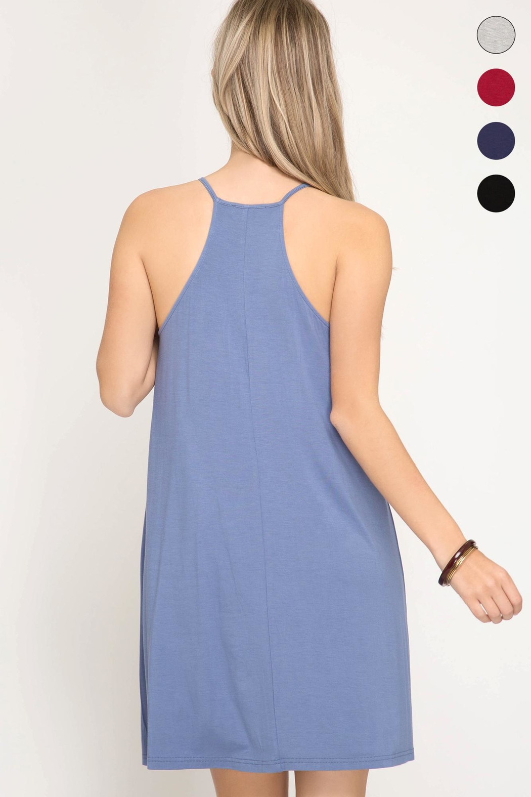 She + Sky Halter Knit Dress - Side Cropped Image
